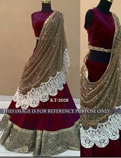 Velvet+Sequins+Work+Maroon+Semi+Stitched+Lehenga+-+T2028 at Rs 3049