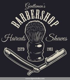 Vintage monochrome barbershop print with sharp razor and shaving brush. Click to the link to find more barbershop elements, badges, emblems and designs. #vectorillustration #vector#illustration #design #dgimstudio #barber #barbershop #hairdresser #razor # Barber Shop Interior, Barber Shop Decor, Shop Interior Design, Gentleman Haircut, Shaving Brush, Shop Interiors, Business Logo, Design Elements, Printed Shirts