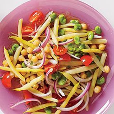 Summer Bean Salad with chickpeas for protein - gorgeous way to use fresh fava beans (if you can't find them, just sub fresh green beans). Use safflower mayo.