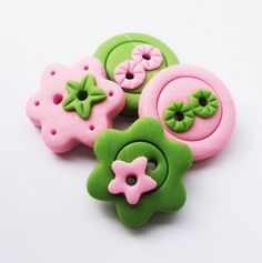 Pink and Green!   set of 4 polymer clay buttons by ayarina on Etsy, $6.15.  What personality this would add.