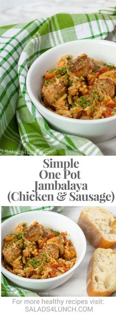 One Pot Jambalaya image with text for pinterest