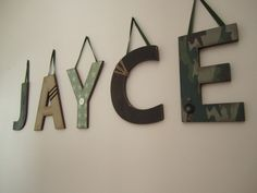 Custom Hanging Wall Letters-In the Army Theme. $10.00, via Etsy.