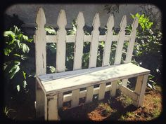 Gorgeous Upcycled Distressed White Picket Fence Garden Bench from Angry Wood Design. Measuring 46 Long and 36 tall with a seat height of 17 it will seat 2-3 people comfortably. - Gardening Rustic
