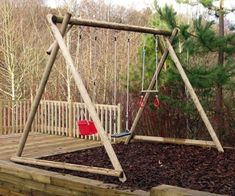 Triple Swing Frame with three double swing points for you to choose the swing seats to suit the age and ability of the children using it. Wooden Swing Frame, Wooden Swings, Swing Seat, Porch Swing, Double Swing, Diy Playground, Wooden Garden, House Colors, Projects To Try