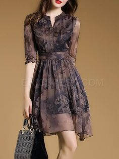 Ericdress A-Line Vintage Print Casual Dress Casual Dresses