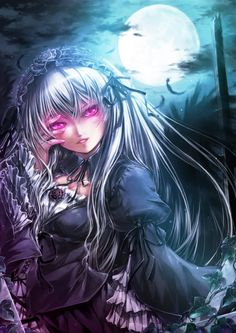 ✮ ANIME ART ✮ gothic. . .gothic fashion. . .gothic lolita. . .dress. . .rose. . .ruffles. . .ribbons. . .headdress. . .long hair. . .silver hair. . .feathers. . .glowing eyes. . .vampire. . .night sky. . .moon. . .clouds. . .feathers. . .dark. . .kawaii