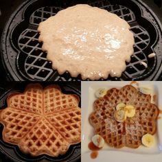 Rezept für gesunde Waffeln aus Dinkelmehl, Banane und Kokosmilch inkl. Nährwertangaben. Sehr einfach zu machen und schmecken sehr lecker!