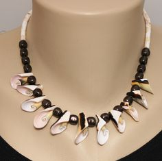 Everlasting Curly Shell and Brown Swarovski Baroque Crystal Pearls and Sterling Necklace