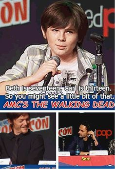 I laugh every time I read this. Norman and Andrews faces! Chandler Riggs on the possibility of a Carl and Beth romance. Carl The Walking Dead, The Walk Dead, Walking Dead Funny, Walking Dead Zombies, The Walking Dead 3, Chandler Riggs, Twd Memes, Funny Memes, Hilarious