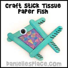 Rainbow Fish Craft Stick Tissue Paper Fish Craft www.daniellesplace.com