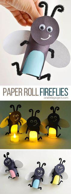 These paper roll fireflies are SO CUTE and they're really easy to make! Add a tea light and the firefly's belly actually glows! This is such a cute kids craft and a super fun summer craft idea! All you need are a few simple craft supplies and you can make your own glowing paper roll firefly in less than 15 minutes!