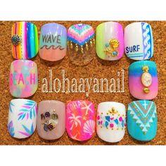 WEBSTA @ alohaaya26 - foot nail*THE夏#トロピカル *#ネイル#nail#nails#nailart#foot#footnail#フットネイル#surf#aloha#beach#wave#サーフ#アロハ#ビーチ#ウェーブ#shell#starfish#palmtree#シェル#ヒトデ#ヤシの木#ネイティブ柄#サラペネイル#ボタニカル柄#ターコイズ#コンチョ