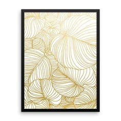 Wilderness Gold Framed poster #graphic #gold #pattern #SingleColor #leaves #metallic #minimal #golden  #style #art