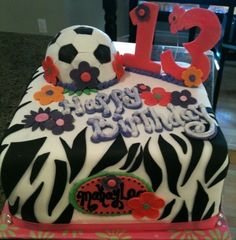 cake designs for a 13 year old girl   zebra print and soccer ball cake birthday cake for 13 year old girl ...