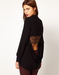 i want.   Enlarge Warehouse Lace Cowl Back Shirt