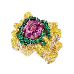 Yellow gold Pli Plat Saphir rose ring with diamonds, yellow diamonds, sapphire and emeralds from the new Soie Dior high jewellery collection.