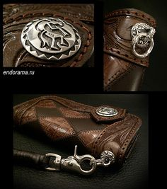 Brown biker wallet leather with inserts crocodile leather with silver concho of 925
