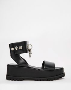 UNIF Vault Black Two Part Chunky Sandals  $207.04 $164.99