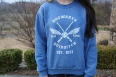 Harry Potter Clothing Hogwarts Quidditch Sweatshirt Team Captain Blue Unisex