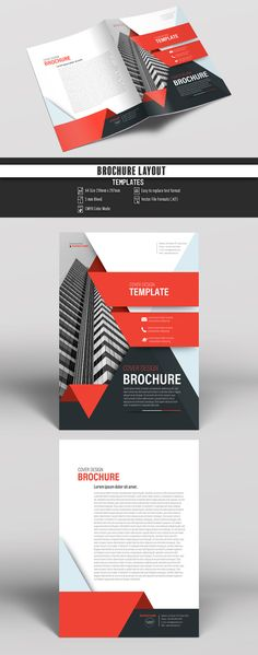 Stock template of Business Brochure Cover Layout with Red Accents. Search more similar templates at Adobe Stock Flyer And Poster Design, Graphic Design Flyer, Design Brochure, Creative Brochure, Brochure Cover, Brochure Layout, Corporate Design, Flyer Design, Leaflet Design