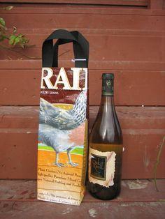 Wine Bottle Bag - Upcycled Chicken Feed Bag - Gift Bag