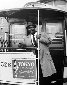 Thelonious Monk on a San Francisco cable car, 1959 (photo by William Claxton)