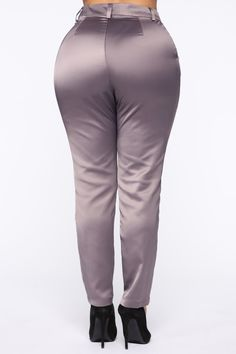 Available In Grey.Satin PantSlim FitMid RiseHook and Zipper Closure Front PocketsAnkle Length Polyester Imported Grey Fashion, Fashion Pants, Rompers Women, Jumpsuits For Women, Jackets For Women, Sweaters For Women, Clothes For Women, Satin Trousers, Slim Fit Pants