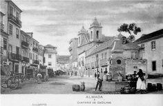 Lisboa de Antigamente: Chafariz de Cacilhas e  Igreja de N. S. do Bom Suc...