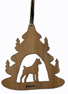 Boxer Silhouette Ornament Christmas Tree Ornament Holiday