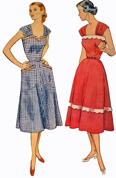 Simplicity 3875 Misses 1950s Sundress Pattern by retromonkeys. Love the shoulder straps on these and the trim details.