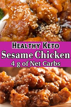 Keto Sesame Chicken - This low carb sesame chicken is a great recipe for all the low carb and keto lovers who are looking for a healthy and delicious meal with just 4 grams of net carbs. Keto Dinner Recipes for Rapid Weight Loss Poulet Keto, Cena Keto, Diet Recipes, Cooking Recipes, Low Carb Dinner Recipes, Steak Recipes, Recipes For Snacks, Recipes For Chicken, Easy Low Carb Recipes