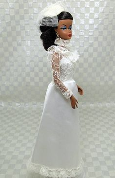 A proper Southern girl needs a proper wedding dress. This one is simple without loosing its Southern charm. In a gorgeous off white matte satin it has a solid bodice with a beautiful re-embroidered tu Southern Wedding Dresses, Wedding Doll, African American Dolls, Bride Dolls, Barbie Collection, Here Comes The Bride, Vintage Barbie, Barbie Clothes, Bella