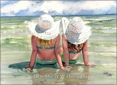 SEASIDE SISTERS Beach Chat 15x11 Watercolor by steinwatercolors