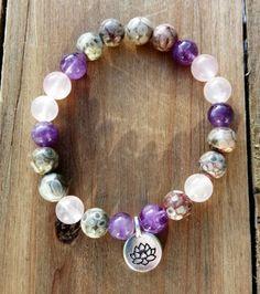 Beautiful beach jewellery by Driftwood Girl at KUKShades Stretch Bracelets, Beaded Bracelets, Jasper Gemstone, Beach Jewelry, Rose Quartz, Amethyst, Charmed, Gemstones, Beautiful
