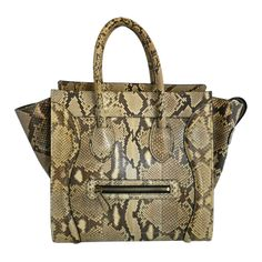 Celine Luggage Phantom Tote in Natural Python | From a collection of rare vintage handbags and purses at http://www.1stdibs.com/fashion/accessories/handbags-purses/