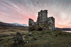Ardvreck Castle is a ruined castle dating from the 16th century which stands on a rocky pr...