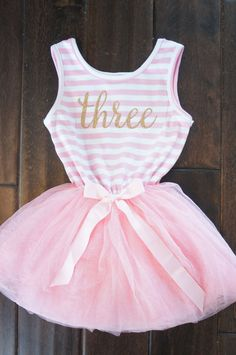 Third birthday outfit dress with gold letters by GraceandLucille