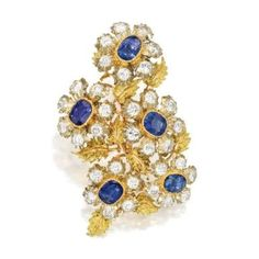 Color Gold, Sapphire and Diamond Brooch, Buccellati