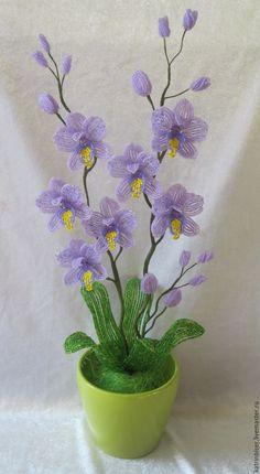 Купить Орхидея фиолетовая - фиолетовый, орхидея, цветы из бисера, орхидея из бисера, букет из бисера