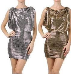 SLEEVELESS METALLIC DRESS Ruched Detail Cowl Neckline Cocktail Party Sexy S M L