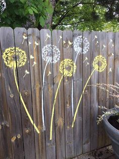 """Loving my fence now that I have Cutting Edge Stencils to help my creativity!"" ~ Ronnie M. after stenciling the Dandelion Stencils http://www.cuttingedgestencils.com/dandelion-stencil.html"