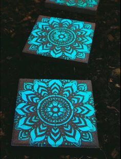 Paint stepping stones with glow in the dark spray