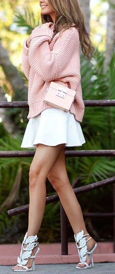 street style / pink knit