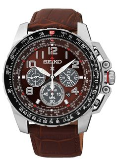 Seiko #SSC279 Men's Prospex Solar Leather Band Burgandy Dial Chronograph Watch