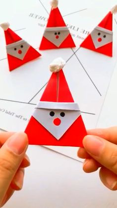 Christmas Card Crafts, Christmas Art, Holiday Crafts, Christmas Decorations, Origami Christmas, Origami Santa Claus, Father Christmas, Handmade Decorations, Paper Crafts Origami