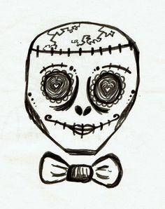 skull sugar skull marker drawing by @maggie_creates_