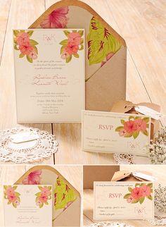 Invitación romántica para una boda en el campo. Romantic wedding invitation for a countryside wedding.