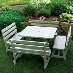 A & L Furniture Yellow Pine Traditional Square Picnic Table with 4 Backed Benches - Walmart.com