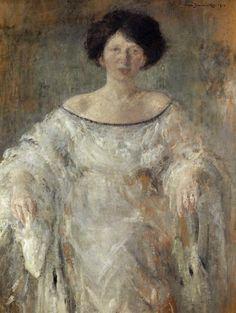 """Olga Boznańska """"Portret młodej kobiety w bieli (pani Libermannowej)"""", 1912, olej na tekturze, 113 x 88 cm, Muzeum Orsay, Paryż"""