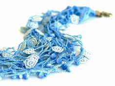 Crocheted Necklace in Blue and White by PinaraDesign on Etsy, $32.50
